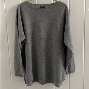 Talbots Grey Cashmere Boat Neck Sweater